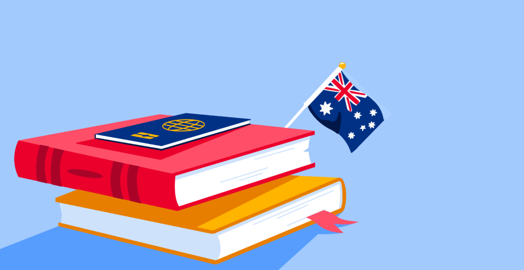 Illustration of stack of books with passport and Australian flag