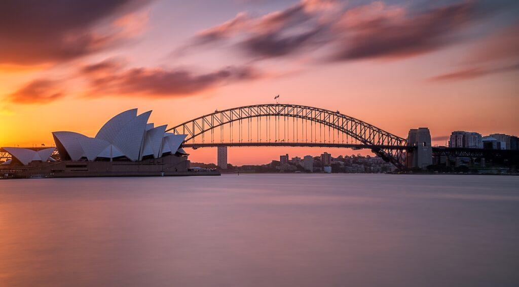 Photograph of Sydney Harbour Bridge at dusk