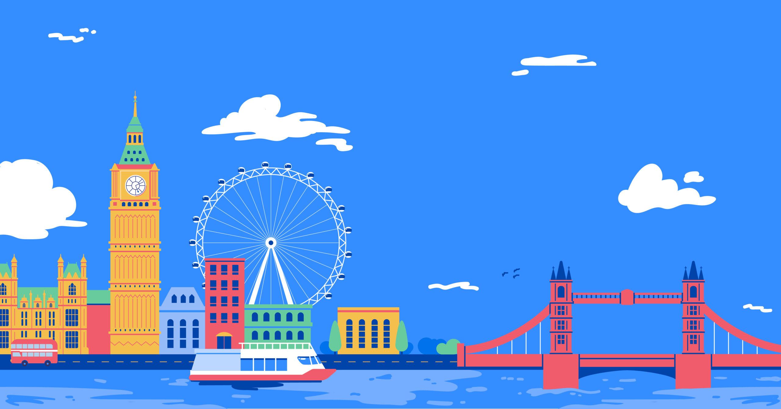 Illustration of London landmarks