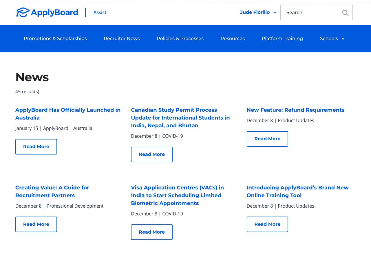 Screen shot of Recruiter News in Assist