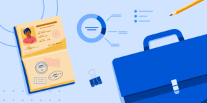 AI Business banner featuring a briefcase, a passport, and a generic chart