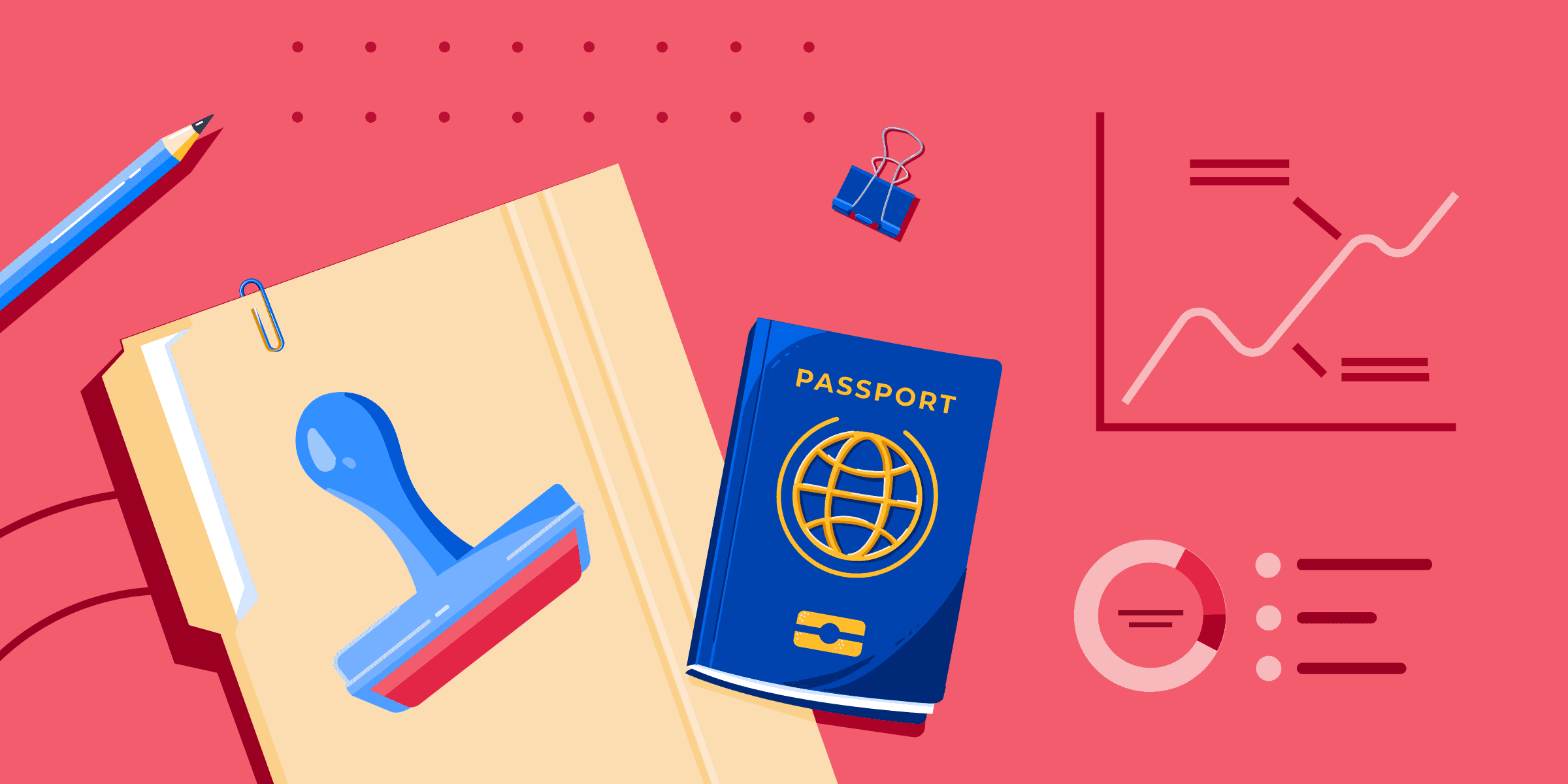AI Retention banner with a file folder, stamp, passport, and generic charts