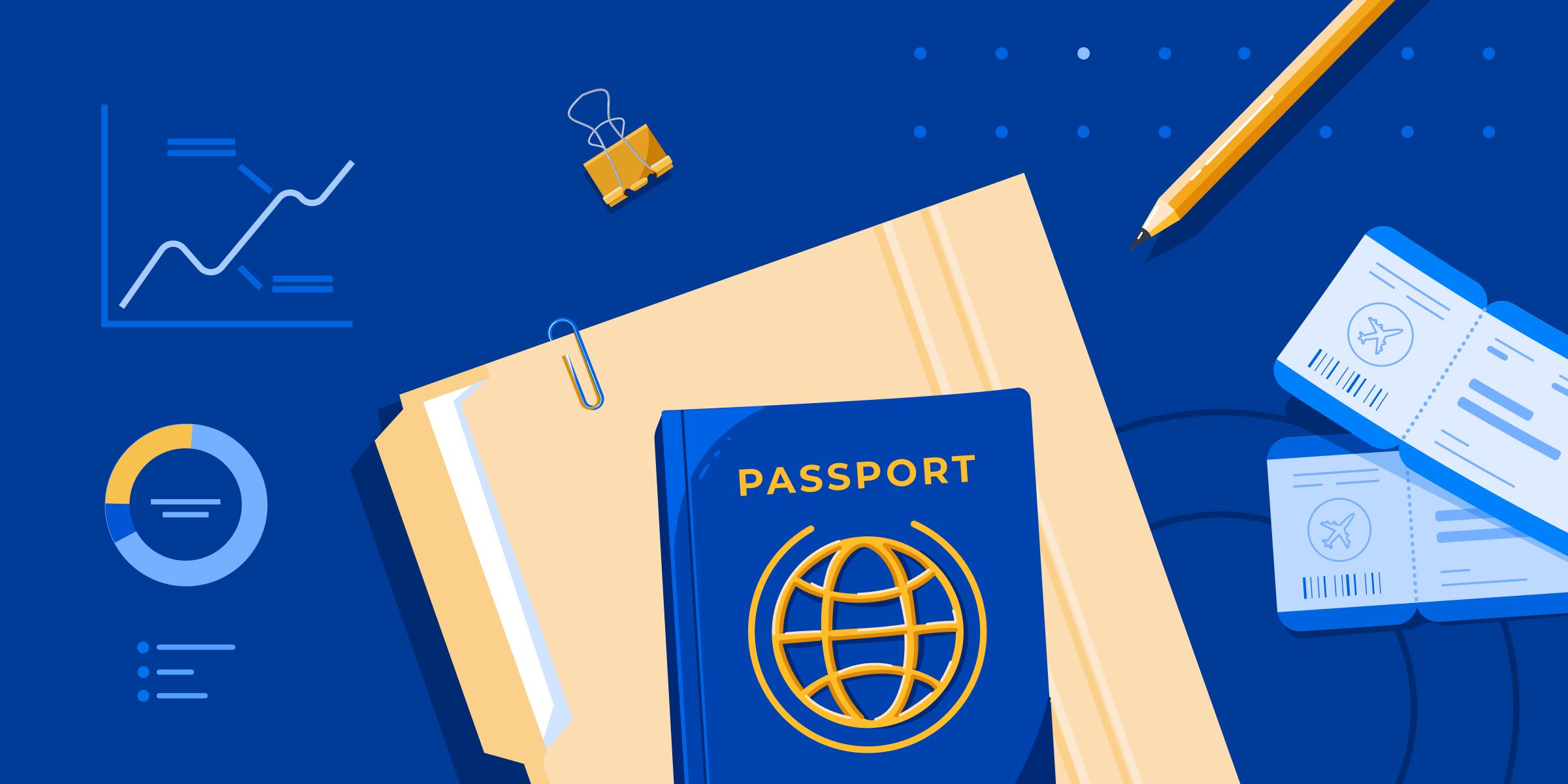 A passport, a file folder, some airplane tickets, and a pencil