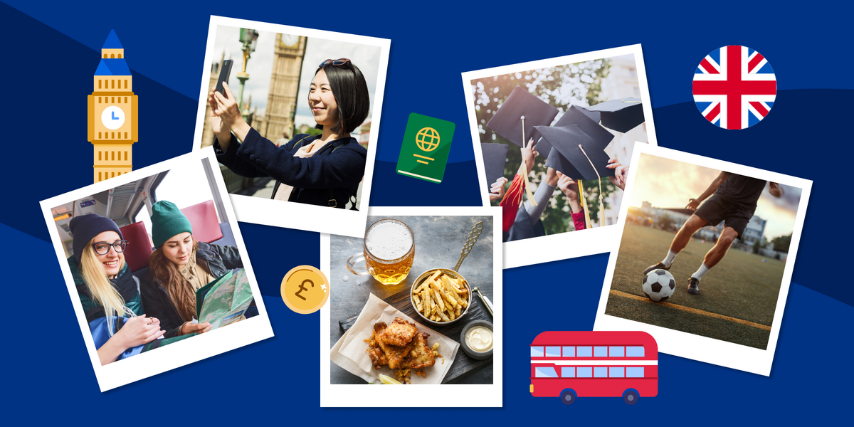 Collage of photos depicting top reasons to study in the UK