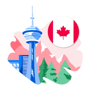 Illustration of Canada flag and Canadian backdrop
