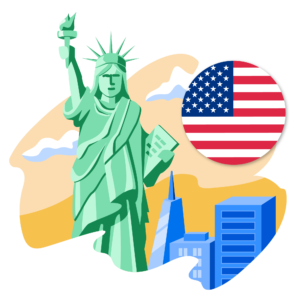 Illustration of US flag and Statue of Liberty