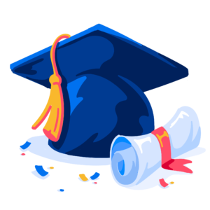 Illustration of grad cap and diploma