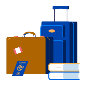 Illustration of luggage, books, and travel document