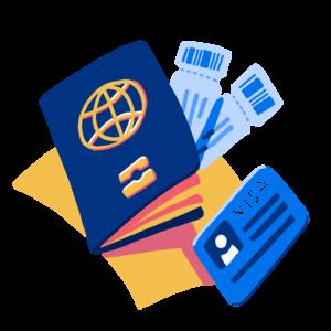 Illustration of passport and visa