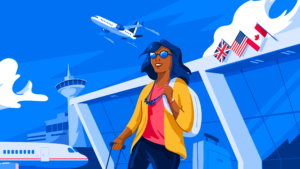 Illustration of student arriving at airport