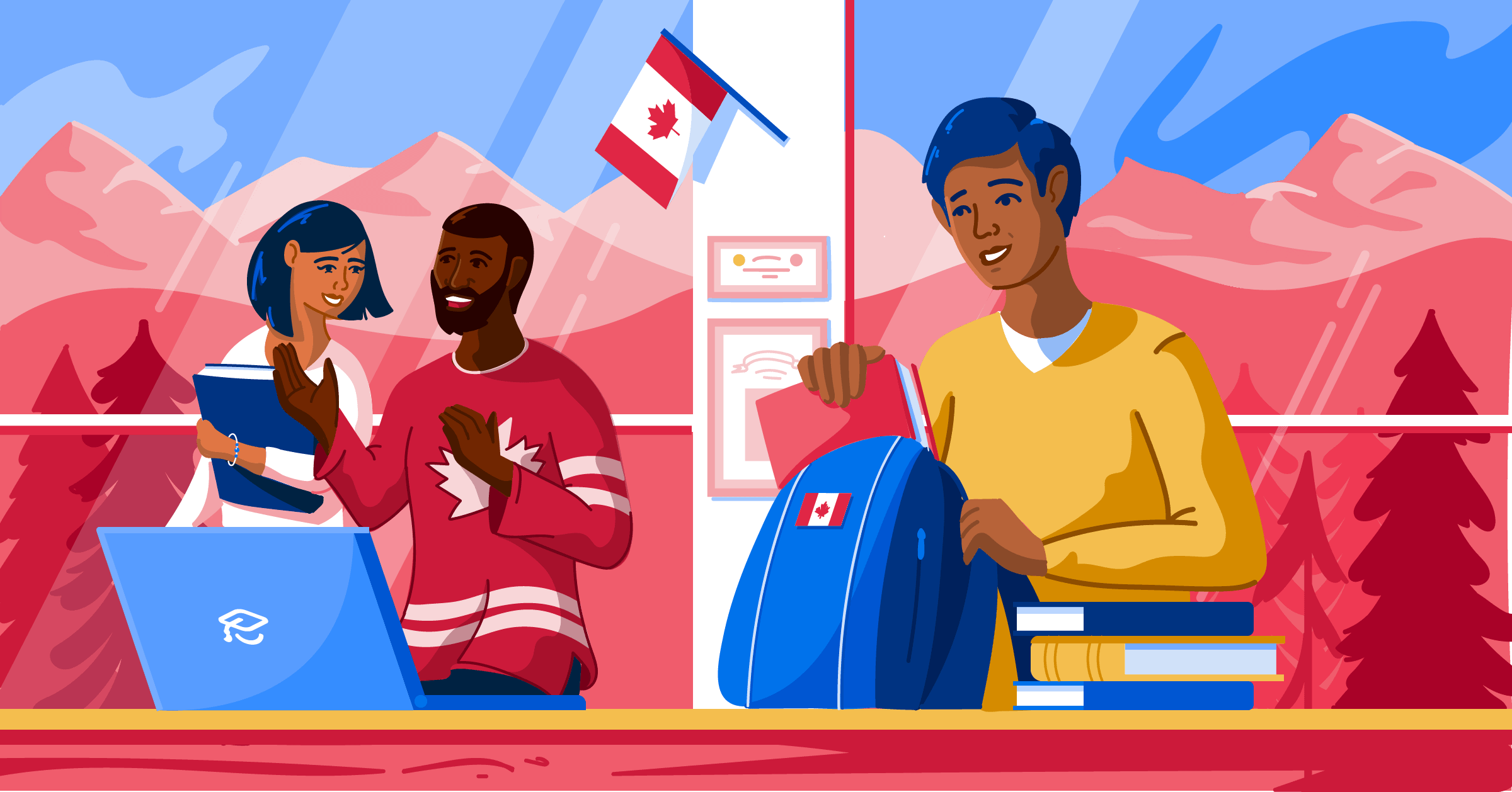 Illustration of students studying in Canada