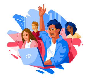 Illustration of male student raising hand in lecture