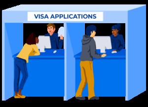 Illustration of students at visa application centre