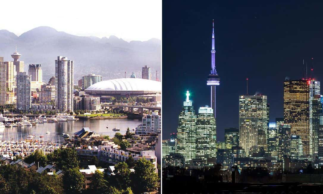 Composite image of Vancouver and Toronto