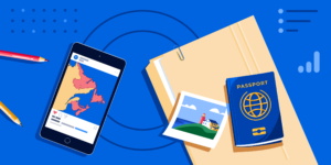 AI Atlantic banner featuring a phone with a map of Atlantic Canada, a folder, a passport, and a photo