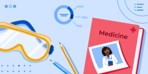 AI Top Fields of Study at U15 Institutions banner featuring safety googles, a picture of a female doctor, and a medical notebook