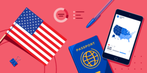An American flag, a passport, a smartphone showing a regional map of the US, and some school supplies.