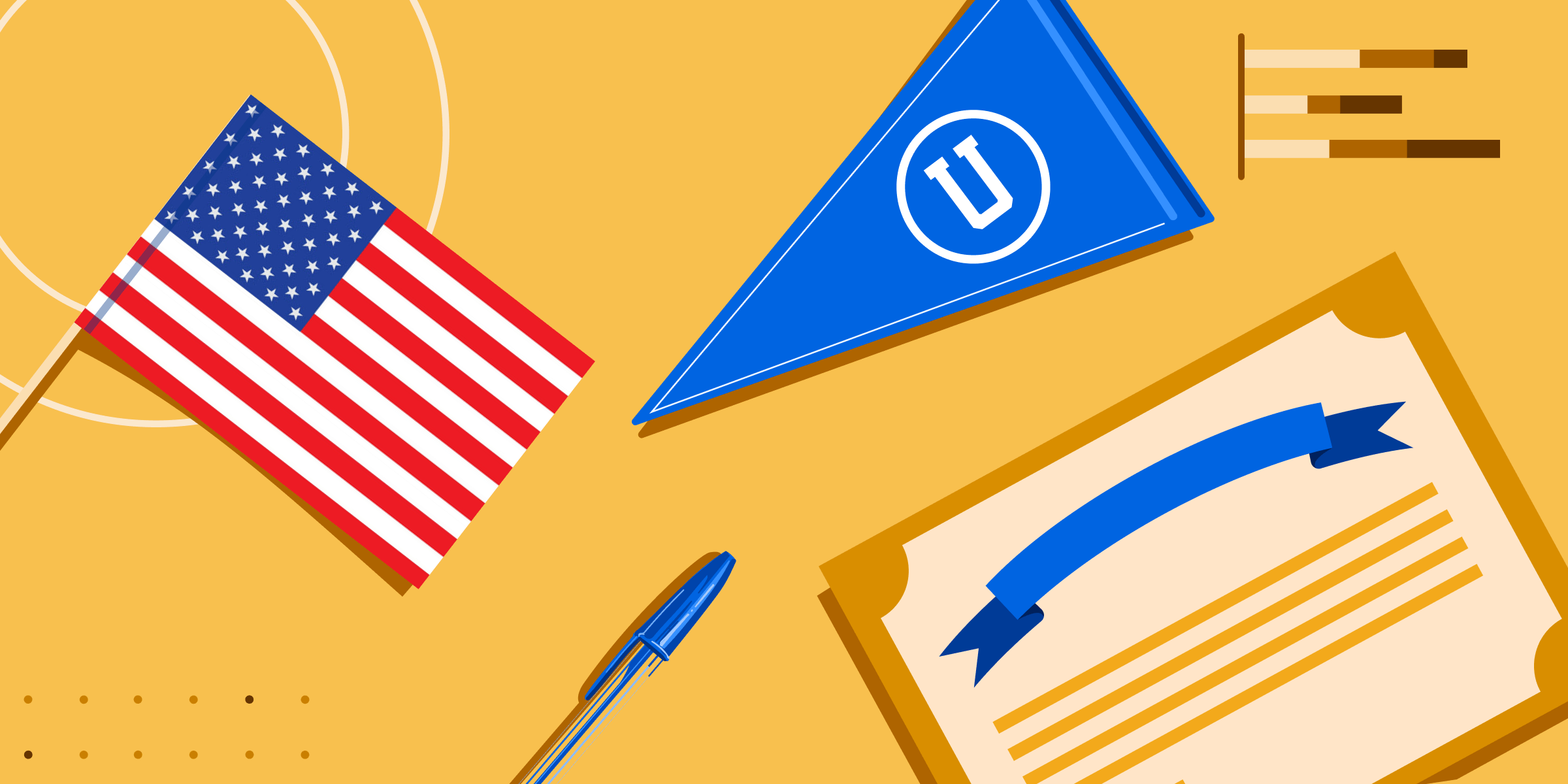 A pennant, a degree, a US flag, and a ballpoint pen.