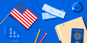 A file folder, a passport, a pair of plane tickets, an American flag, and some school supplies.