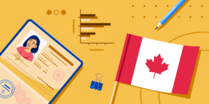 AI Top Canadian Schools 2020 banner featuring Canada flag, open passport with photo, generic charts, and a pencil