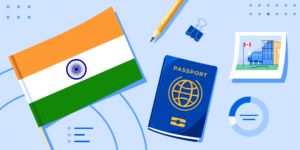Top Indian Schools 2020 banner with Indian flag, passport, photo, and generic charts