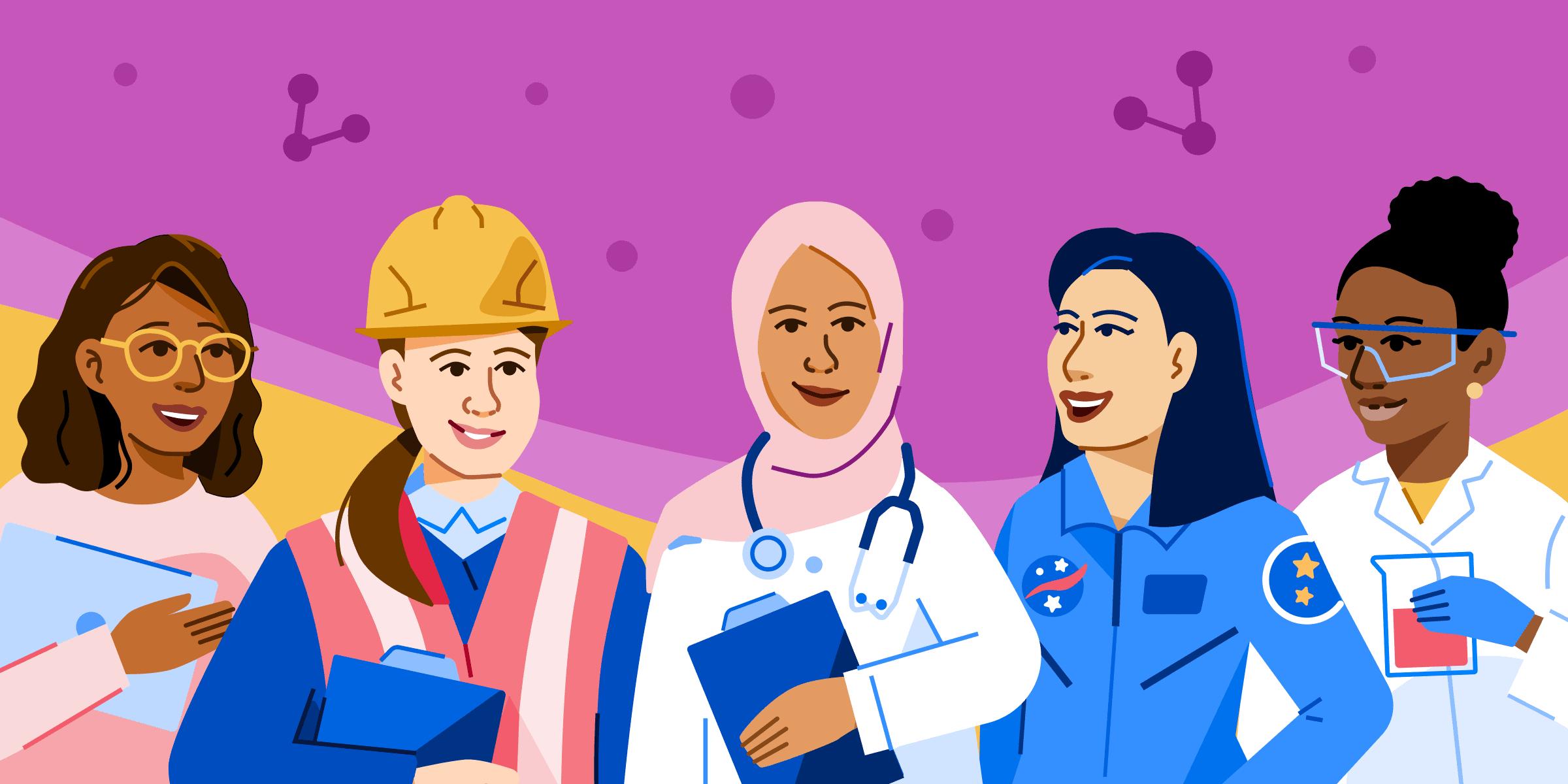 Illustration of women in STEM roles