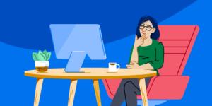 Illustration of woman sitting at computer