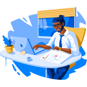 Illustration of male student studying on laptop