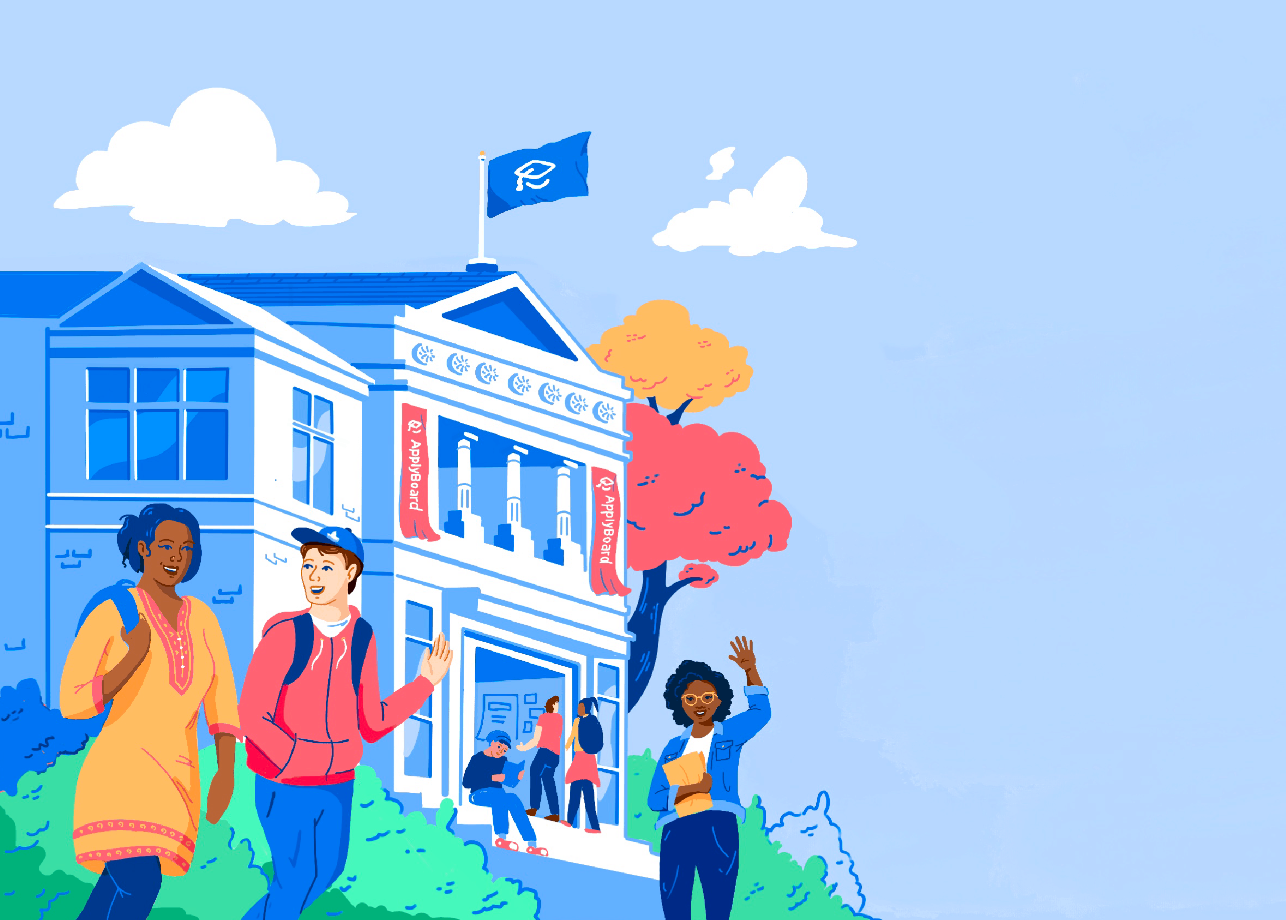 Illustration of students on school campus