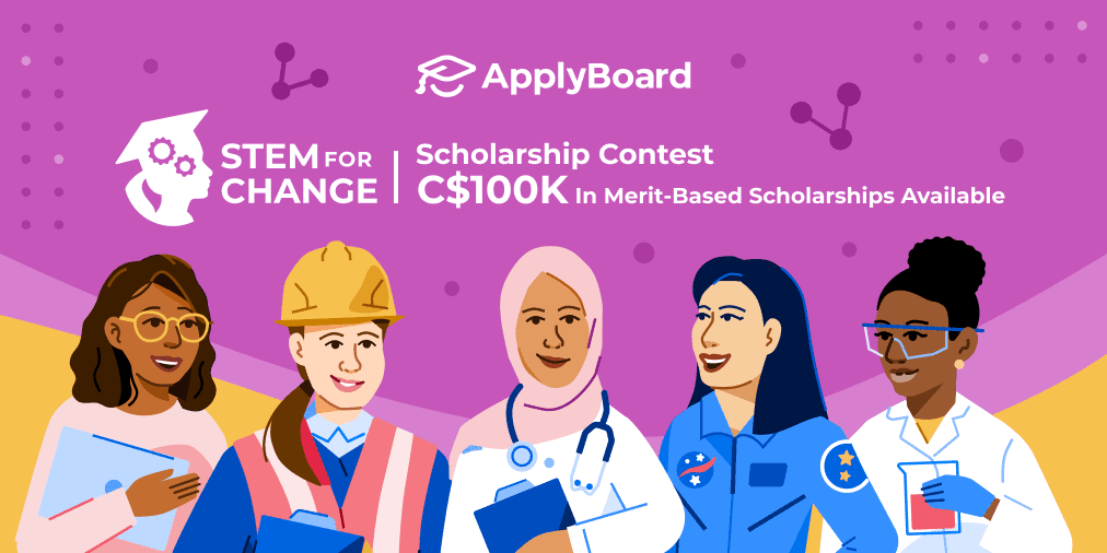Illustration promoting ApplyBoard STEM For Change scholarship