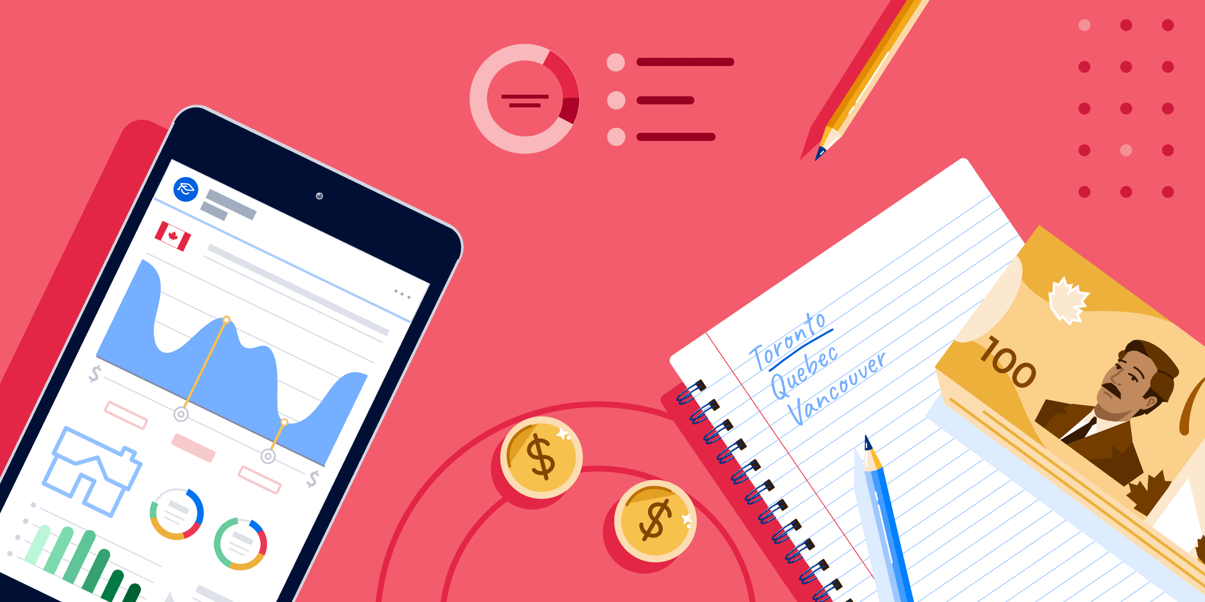 AI Tuition/Rent banner featuring a smartphone with price graphs, a notepad, and a stack of $100 Canadian bills