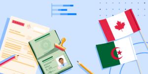 AI Algeria banner featuring an Algerian flag, Canadian flag, Algerian passport, Canadian study permit document, and generic graphs
