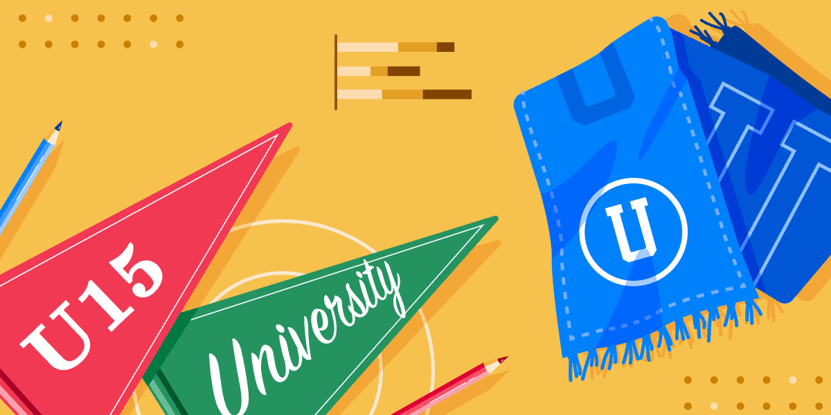 AI: U15 #2 banner featuring a blue scarf, a red pennant with U15 on it and a green pennant with University on it