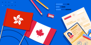 The Hong Kong flag, the Canadian flag, a passport, and some school supplies.