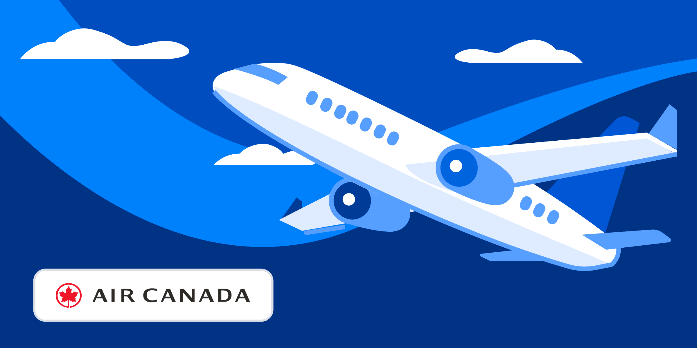 Plane flying with Air Canada logo at bottom of image