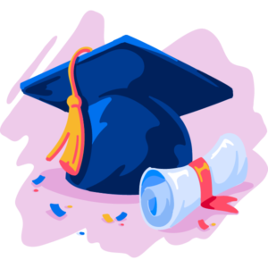 Illustration of grad cap and diploma