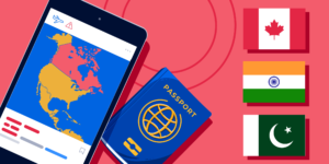 Illustration showing phone, passport and flags of Canada, India, and Pakistan
