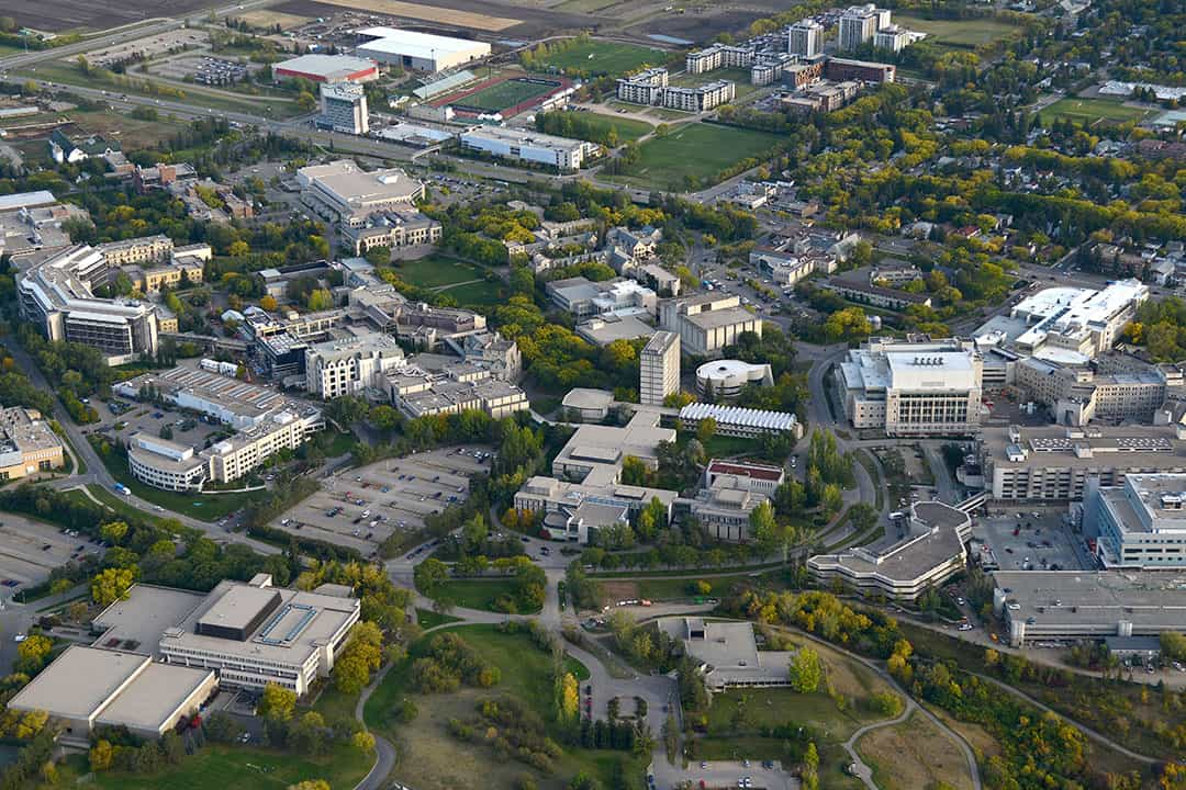 Aerial photo of University of Saskatchewan campus