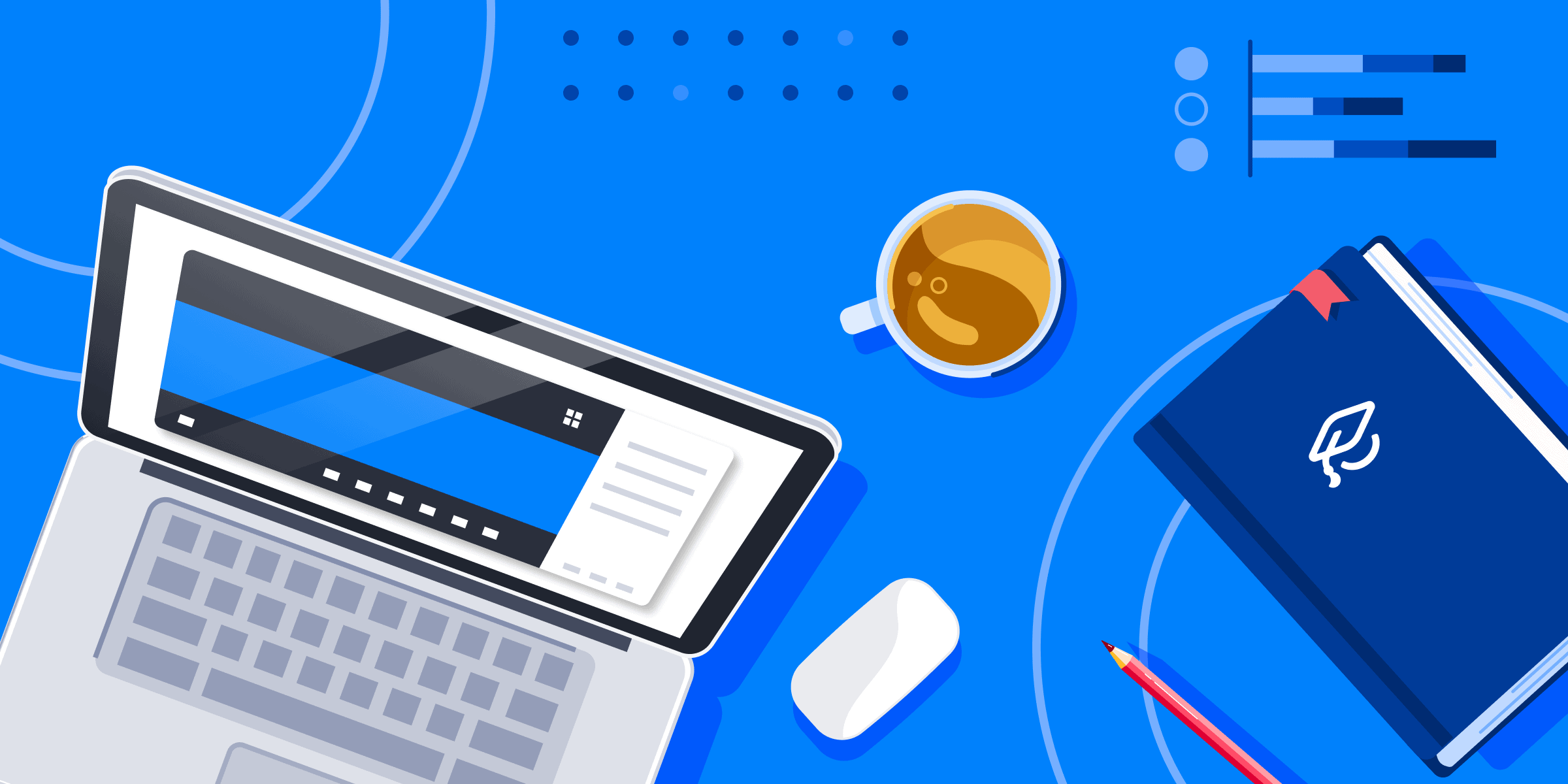 A laptop, a computer mouse, a daybook, a cup of coffee, and a pencil.
