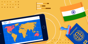 The Indian flag, a passport, and a smartphone showing a world map with Canada, the UK, the US, and Australia highlighted.