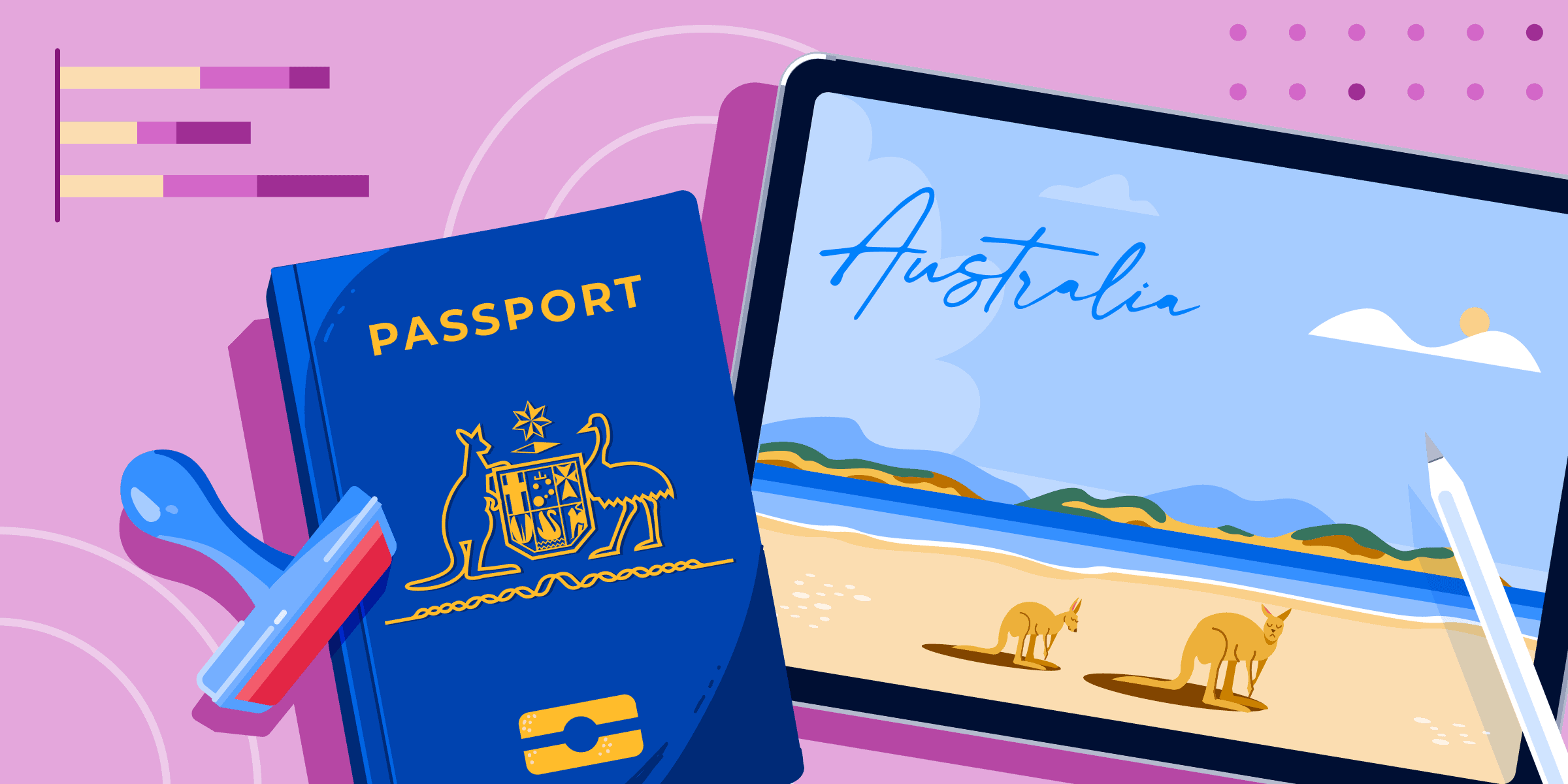 ApplyInsight: Predicting Post-Pandemic Visa Trends for Australian International Education banner featuring a passport, a stamp, and a postcard of Australia