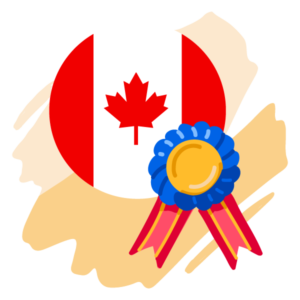 A Canadian flag and an award ribbon.