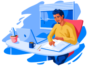 Illustration of male student studying at desk