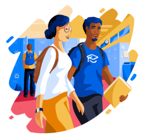 Illustration of students walking and talking in hallway