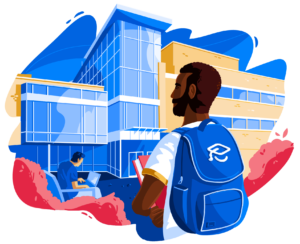 Illustration of male student wearing backpack in front of school