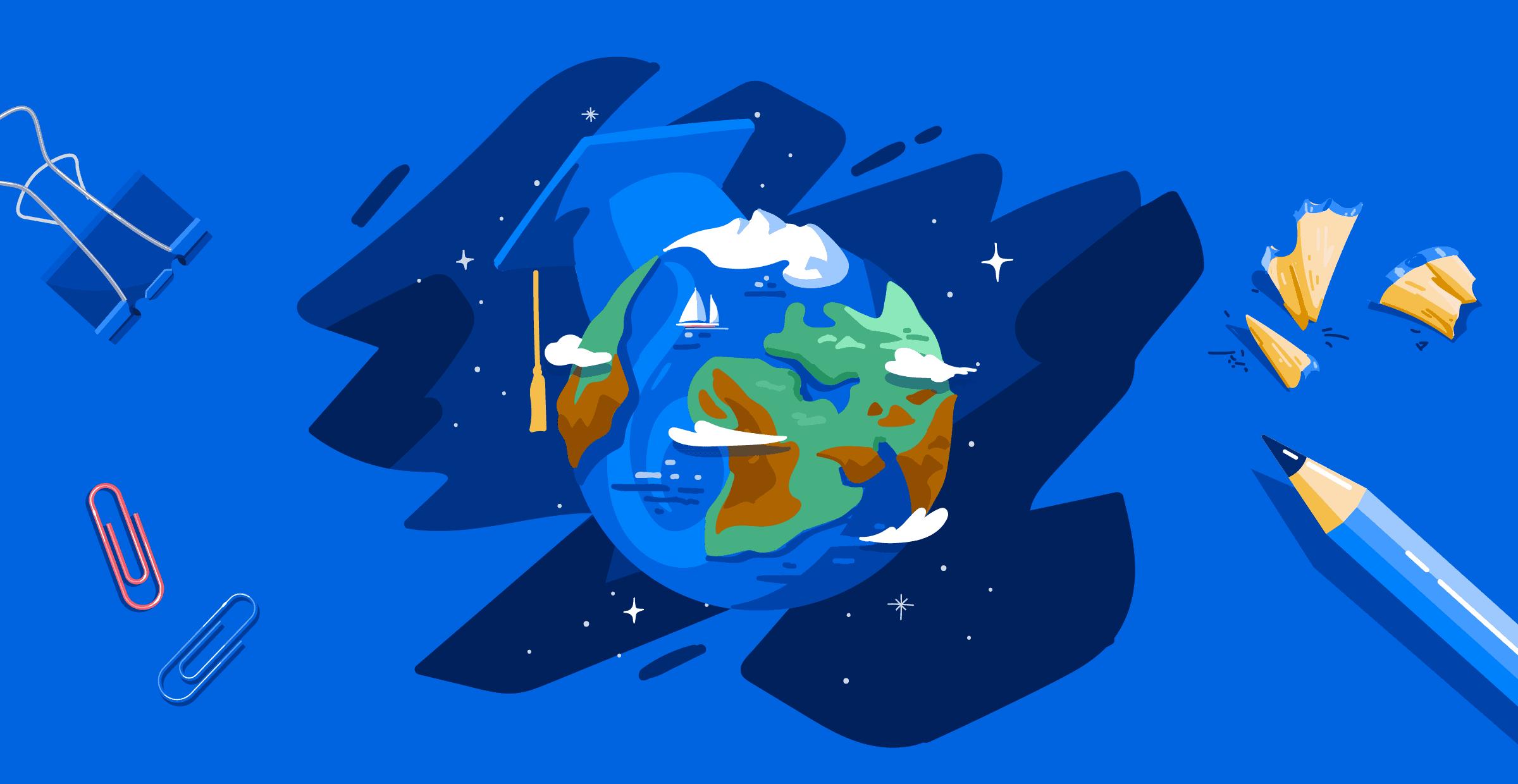 Illustration of globe wearing grad cap