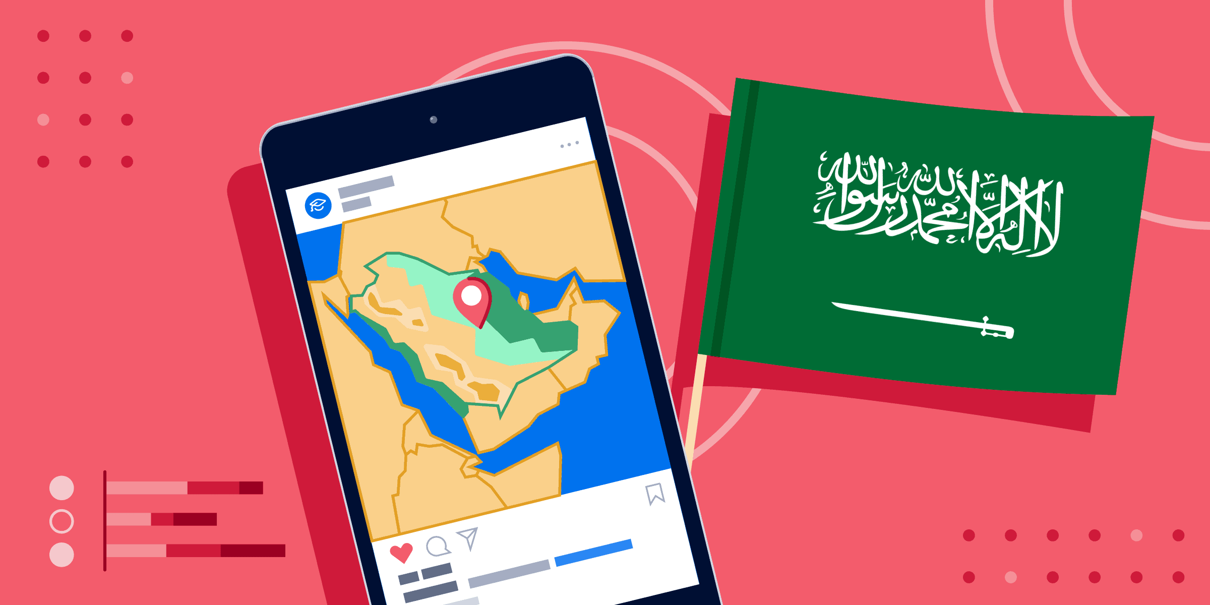 ApplyInsights: Saudi Arabia Offers Growing International Student Recruitment Potential banner featuring map of Saudi Arabia on a smartphone next to Saudi flag