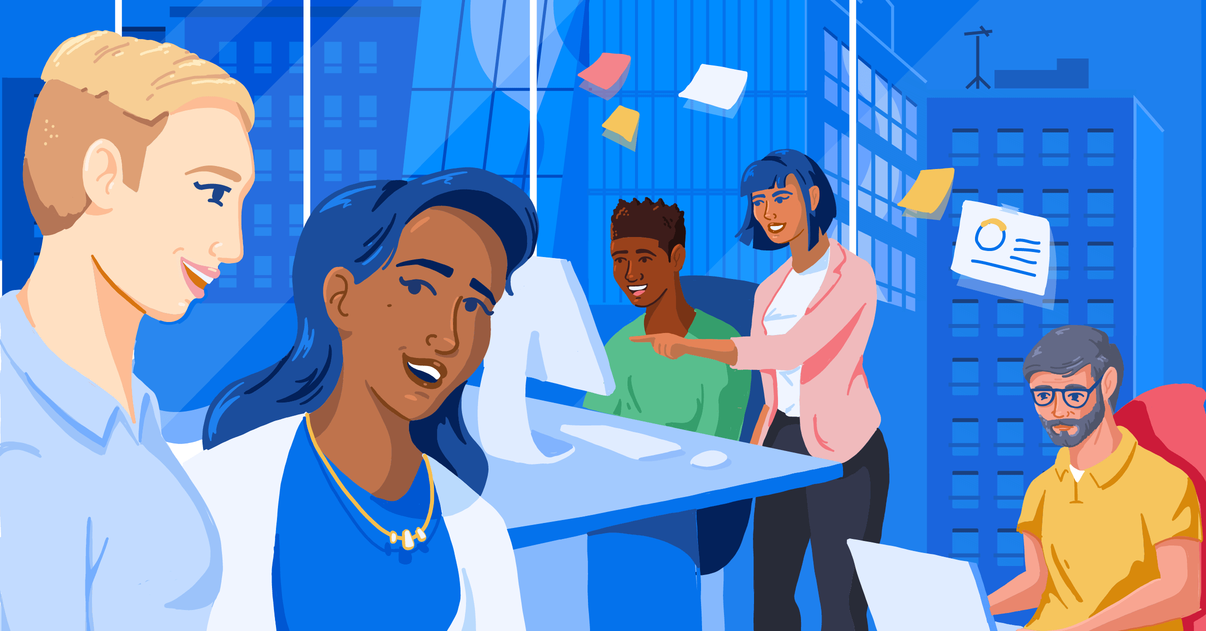 Illustration of people working in an office