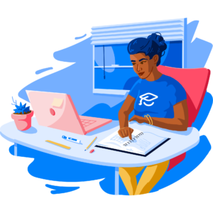 Illustration of ApplyBoard employee at their desk