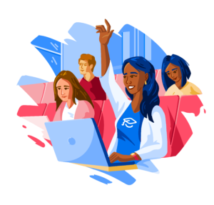 Illustration of woman student with raised hand
